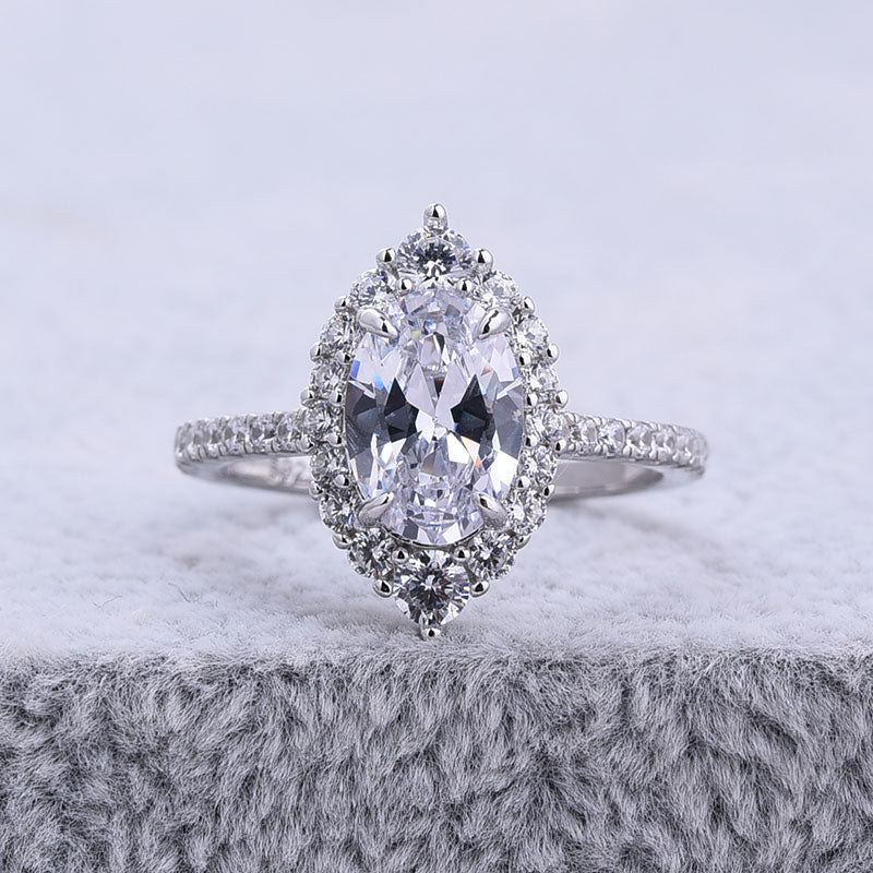 Hellojewelr Sterling Silver Oval Cut Engagement Ring With Exclusive Design Halo
