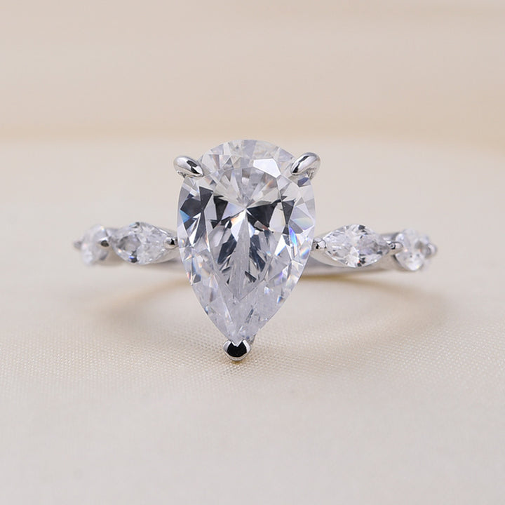 Hellojewelr Pear & Marquise Cut Engagement Ring In Sterling Silver