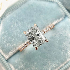 Hellojewelr  Rose Gold Radiant Cut Engagement Ring In Sterling Silver