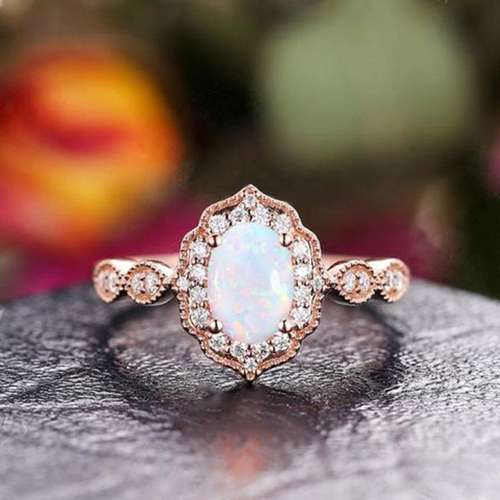 Hellojewelr Opal 1.8 Carat Vintage Rose Gold Oval Cut Engagement Ring