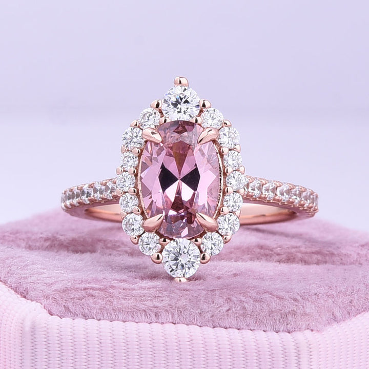 Hellojewelr Oval Cut 1.5 Carat Rose Gold Engagement Ring