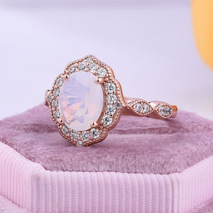 Hellojewelr Moon Stone Rose Gold Oval Cut Engagement Ring In Sterling Silver