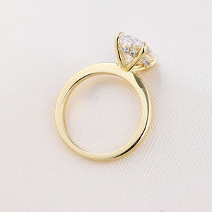 Yellow Gold 3.50 Carat Oval Cut Solitaire Engagement Ring In Sterling Silver
