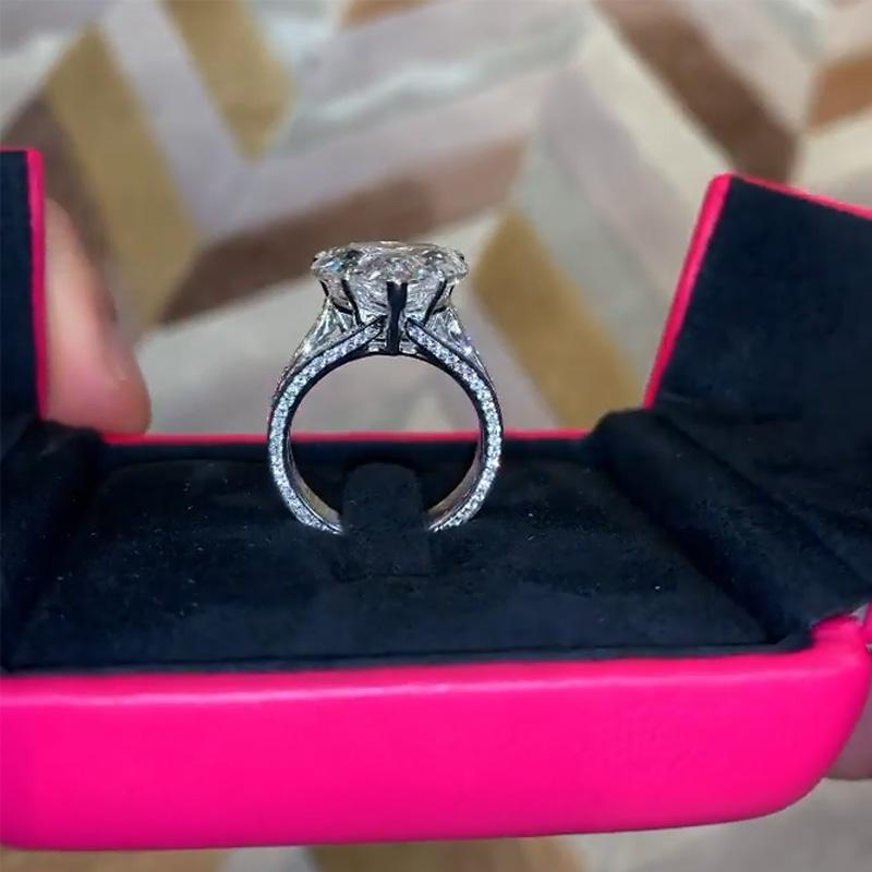 Exquisite 5.0 Carat Heart Cut Engagement Ring In Sterling Silver