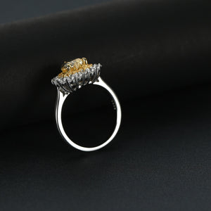 1.5 Carat Halo Heart Shaped Yellow Sapphire Engagement Ring In Sterling Silver