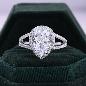 Split Shank Pear Cut Sona Simulated Diamonds Halo Engagement Ring In Sterling Silver