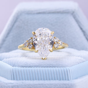 Split Shank Pear Cut Sona Simulated Diamonds Engagement Ring In Sterling Silver