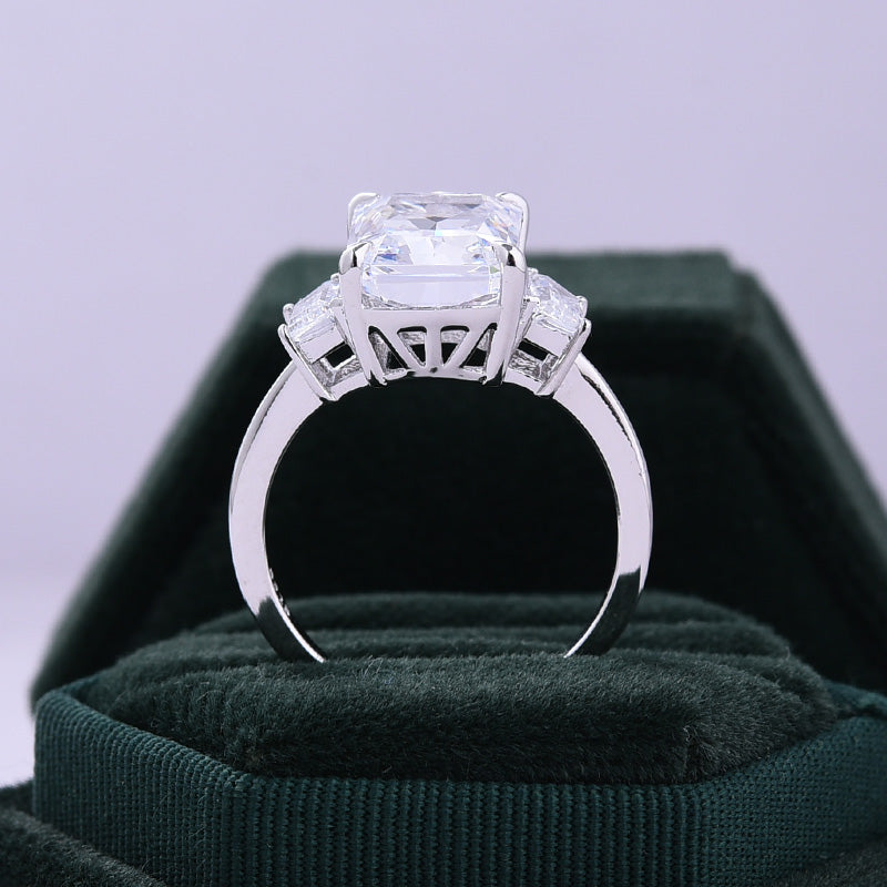 Eternity Three Stone Radiant Cut sona simulated diamond Engagement Ring In Sterling Silver