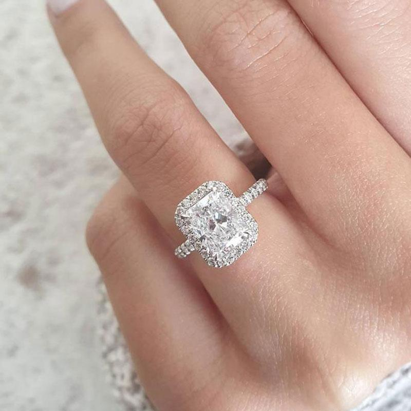 Classic Halo Radiant Cut sona simulated diamond Engagement Ring In White Gold