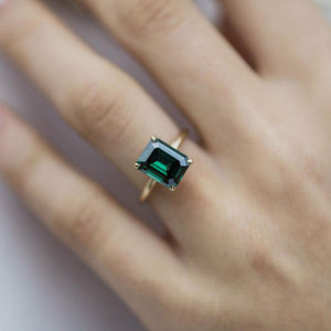 Classic Yellow Gold Emerald Cut Engagement Ring In Sterling Silver