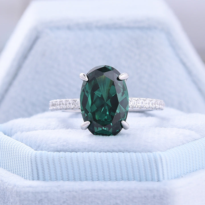 Classic Oval Cut Emerald Green Simulated Diamond Engagement Ring In White Gold