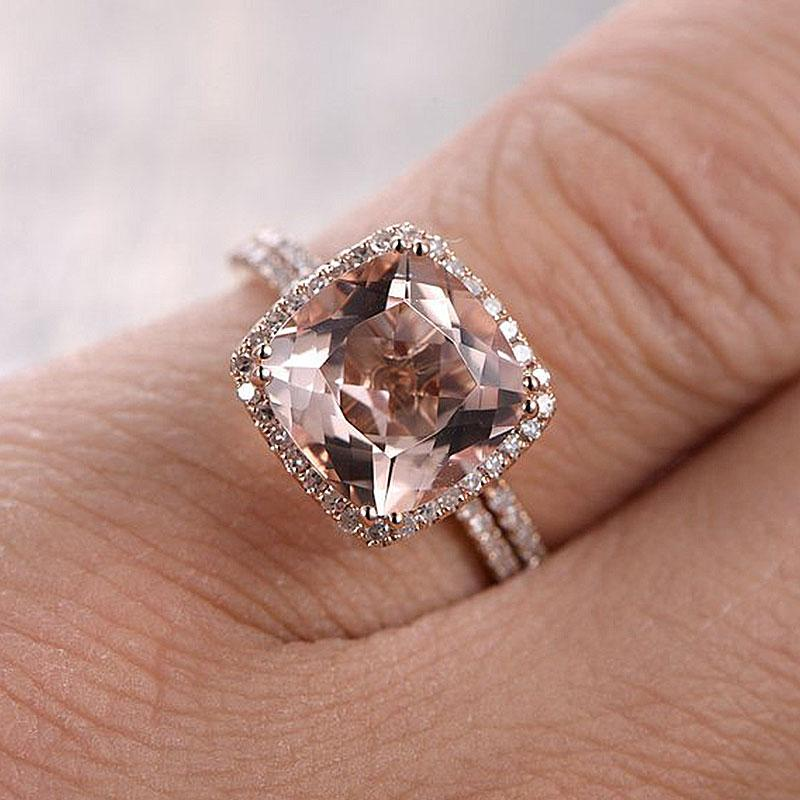 Hellojewelr Sterling Silver Halo 4.0 Carat Cushion Cut Synthetic Morganite Ring Set