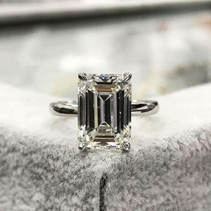 Hellojewelr Sterling Silver 5.0 Carat Emerald Cut Engagement Ring