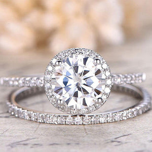 Hellojewelr Sterling Silver 1.5 Carat Round Cut Halo Ring Set