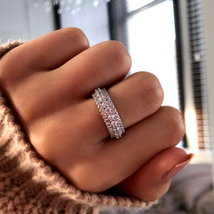 Hellojewelr Sterling Silver Fashion Full Eternity Women's Wedding Band
