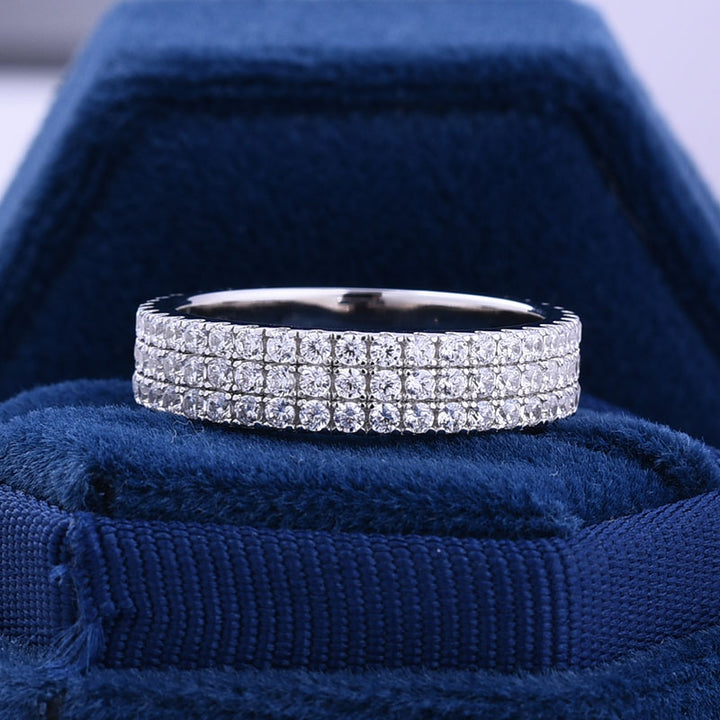 Hellojewelr Sterling Silver Luxury Pave Women's Wedding Band