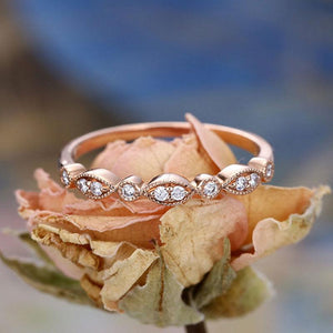 Hellojewelr Rose Gold Art Deco Milgrain Marquise and Dot Wedding Band