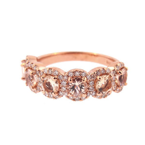 Hellojewelr Rose Gold Fashion Halo Five Stone Anniversary Ring In Sterling Silver