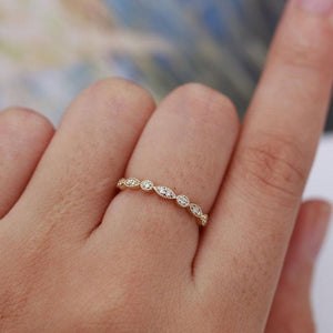 Hellojewelr Yellow Gold Art Deco Milgrain Marquise and Dot Half Eternity Wedding Band