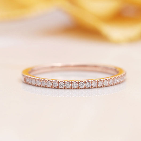 Hellojewelr Rose Gold Classic Half Eternity Wedding Band