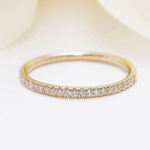 Hellojewelr Yellow Gold Classic Half Eternity Wedding Band