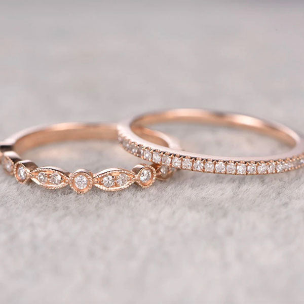 Hellojewelr Rose Gold 3.0 Carat Synthetic Morganite Pear Cut Stacking Ring Set
