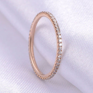 Hellojewelr Rose Gold Classic Full Eternity Women's Wedding Band