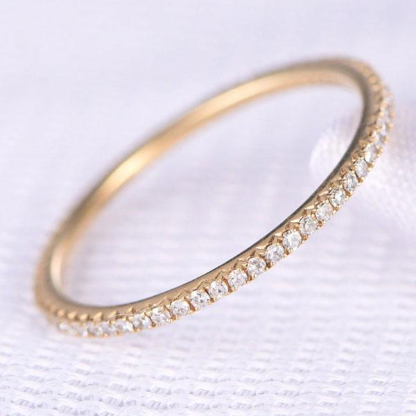 Hellojewelr Yellow Gold Classic Full Eternity Women's Wedding Band