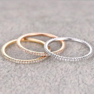 Hellojewelr Class 3-Tone Full Eternity Stackable 3PC Band Set