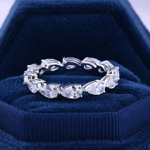 Hellojewelr Sterling Silver 3.0 Pear Cut Eternity Wedding Band