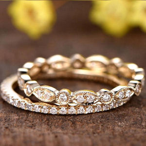 Hellojewelr Yellow Gold Full Eternity Art Deco Women's Wedding Band Set