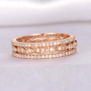 Hellojewelr Rose Gold Art Deco Full Eternity 3PC Wedding Band Set