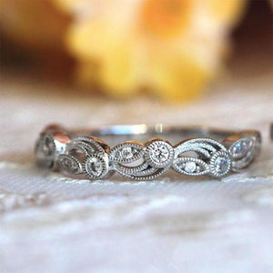 Vintage Leaf & Vine Art Deco Wedding Band In Sterling Silver