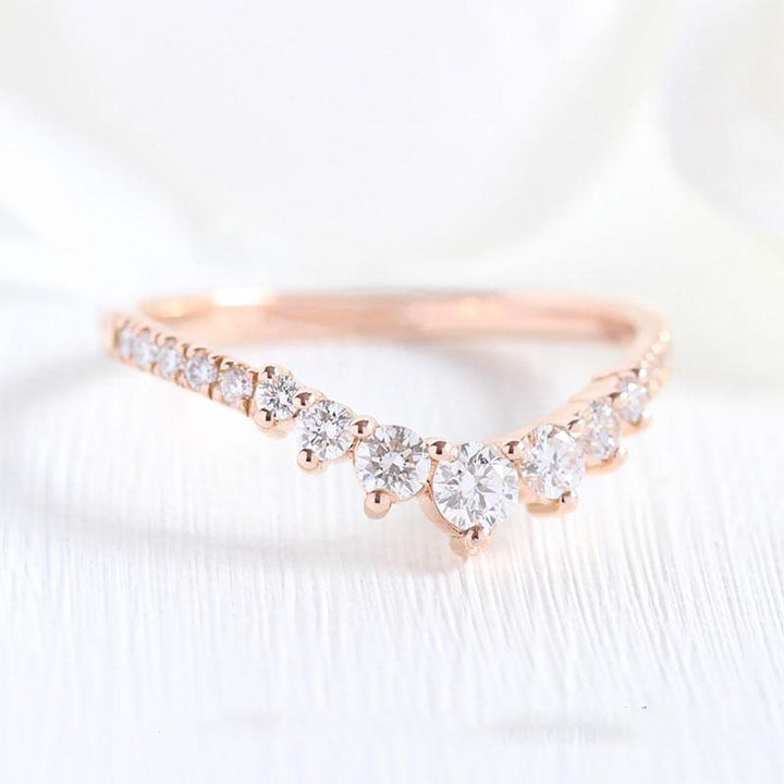 Hellojewelr Rose Gold Fashion Thin Wedding Band In Sterling Silver