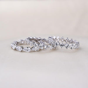 Art Deco Eternity 3PC Stacking Wedding Band Set In Sterling Silver