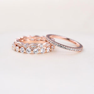 Rose Gold Art Deco 3-Pieces Stackable Wedding Band Set