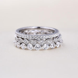 Art Deco 3-Pieces Stackable Wedding Band Set In Sterling Silver