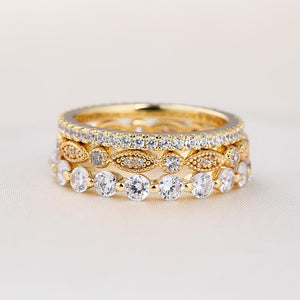 Yellow Gold Art Deco 3-Pieces Stackable Wedding Band Set