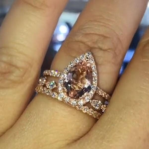 Hellojewelr Rose Gold 3.0 Carat Synthetic Morganite Pear Cut Bridal Set