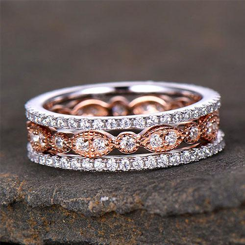 Hellojewelr Art Deco Full Eternity 3PC Wedding Band Set For Women
