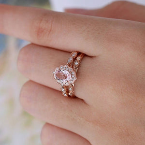 Hellojewelr Art Deco Halo Milgrain 3.0 Ct Pink Stone Oval Cut Wedding Set