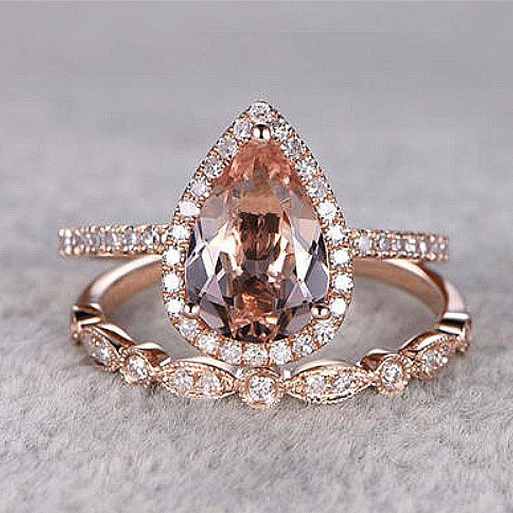 Hellojewelr Halo Rose Gold 3.0 Ct Champagne Stone Pear Cut Wedding Bridal Set