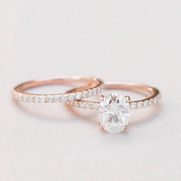 Hellojewelr Rose Gold 4.0 Carat Oval Cut White Stone Wedding Set