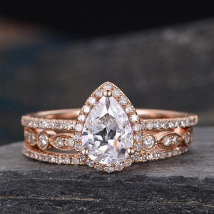 Hellojewelr Rose Gold 1.5 Ct White Stone Pear Cut Stacking Ring Set