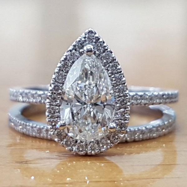 Hellojewelr Sterling Silver 3.0 Carat Pear Cut Women's Wedding Bridal Set