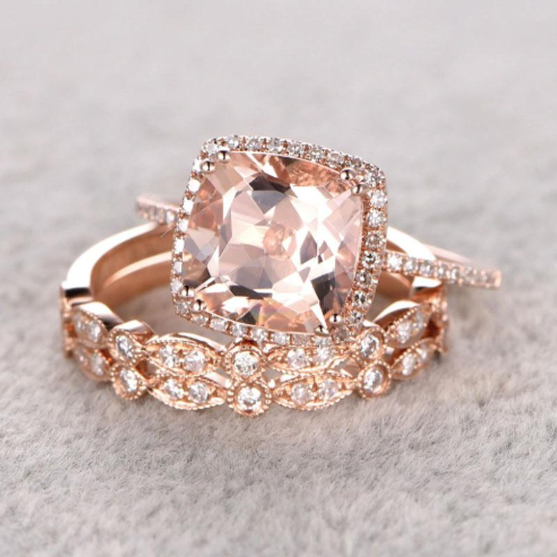 Hellojewelr Rose Gold 5.0 Ct Cushion Cut Champagne Stone 3PC Wedding Ring Set