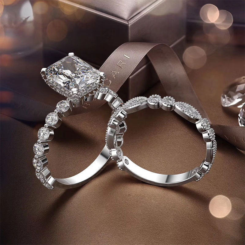 Hellojewelr Sterling Silver Exquisite 4.0 Carat Radiant Cut Wedding Ring Set