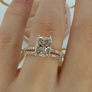 Hellojewelr Rose Gold Radiant Cut Wedding Ring Set In Sterling Silver