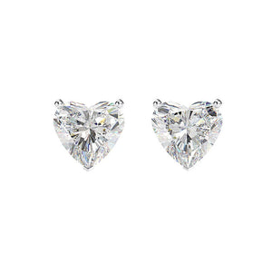 Hellojewelr Sterling Silver Classic Heart Cut Stud Earrings