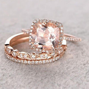 Hellojewelr Rose Gold 5.0 Ct Cushion Cut Champagne Stone 3PC Ring Set
